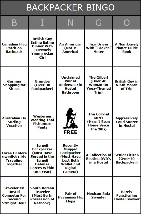 Have You Played Backpacker Bingo Yet?