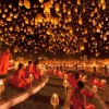 Paper Lanterns Being Released Into The Sky In Thailand
